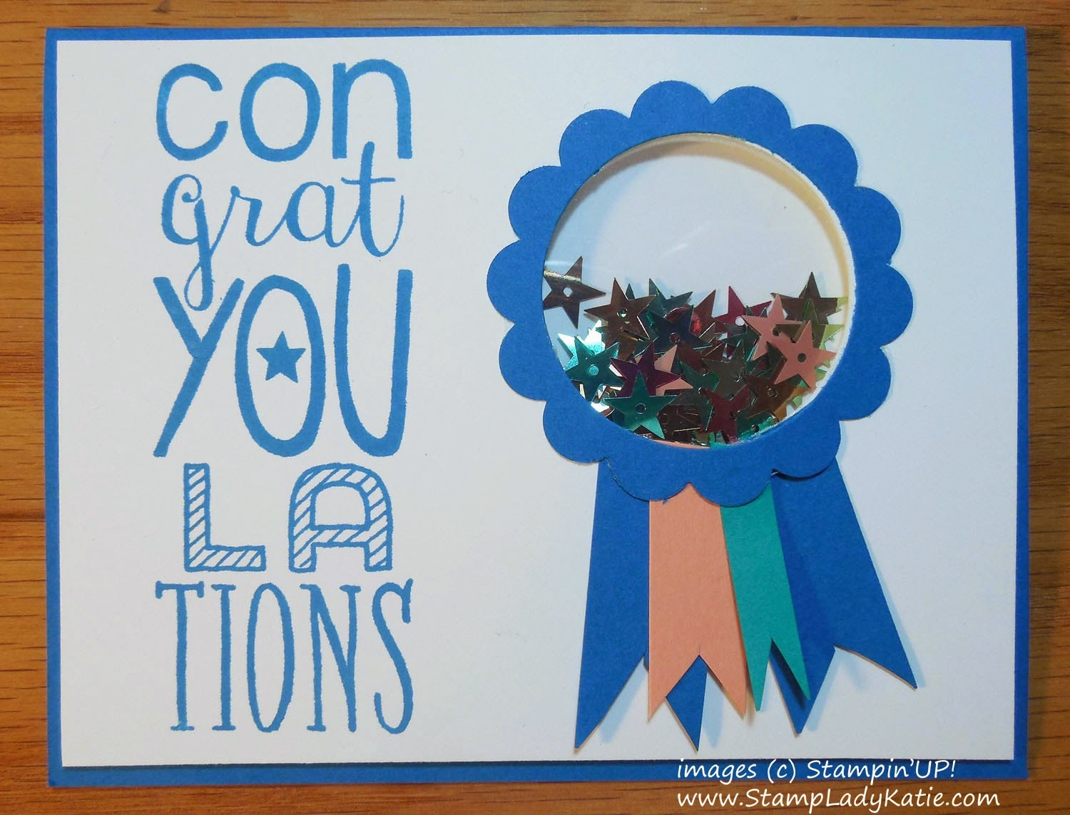 Congratulations Shaker Card made with sequins