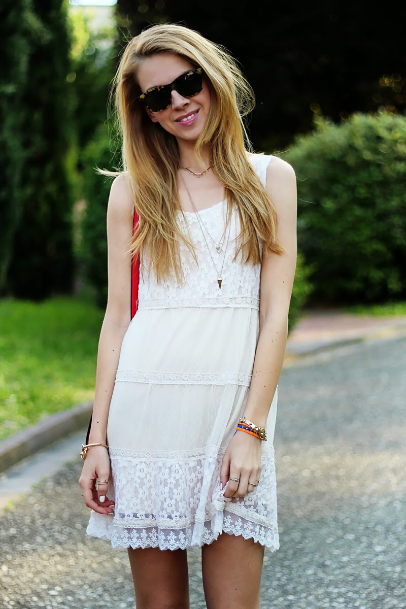 lace dress, cross-body bag, summer outfit