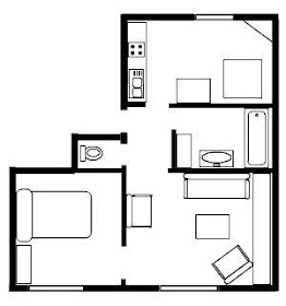 One Bedroom Apartment Floor Plans Phase II One Bedroom Small 775