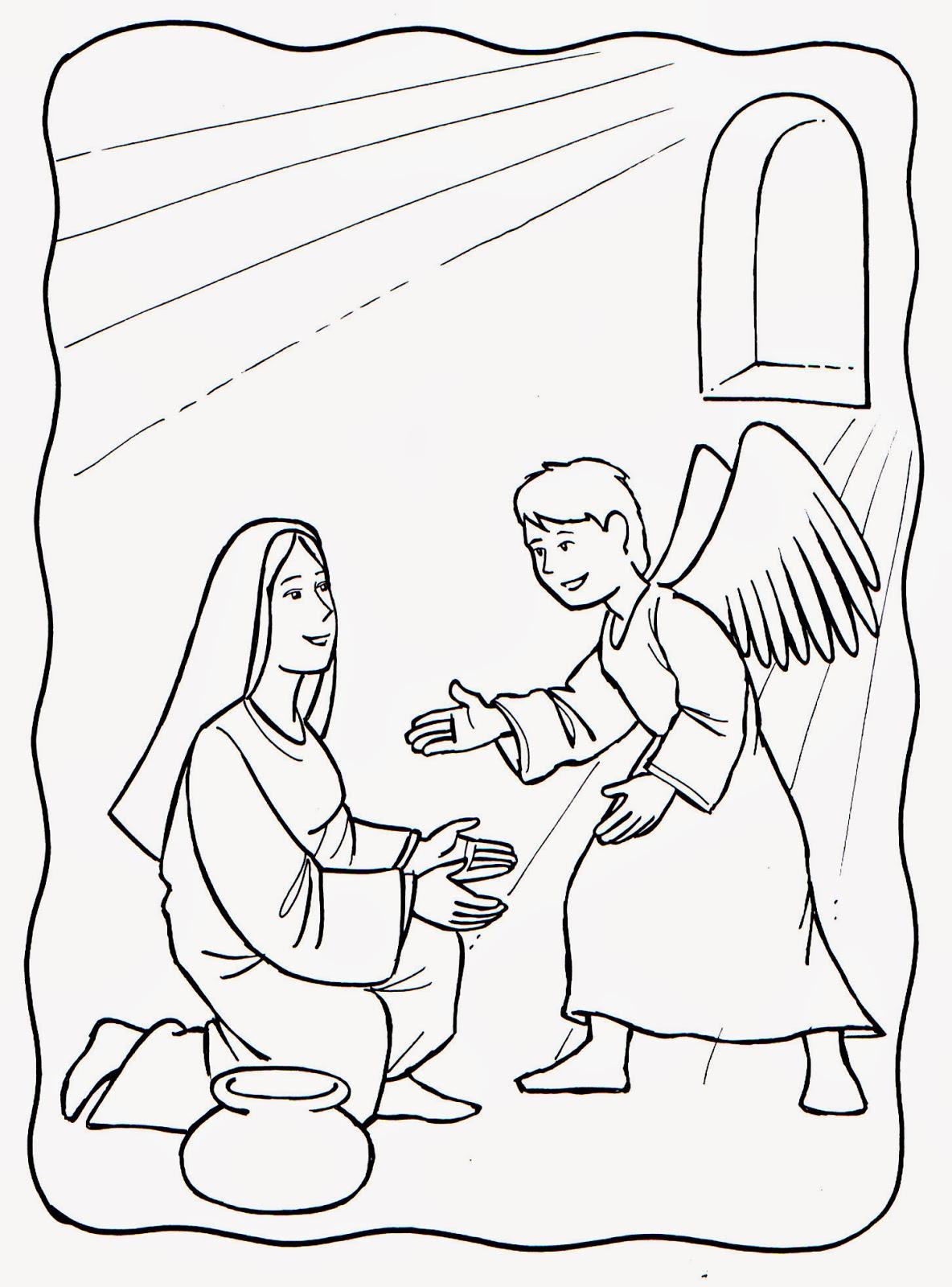 Imagenes Cristianas Para Colorear: Anunciacion del nacimiento de ...