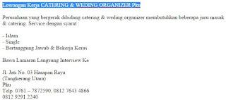 Lowongan Kerja CATERING & WEDING ORGANIZER Pku