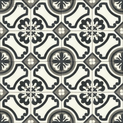 Black, grey, and white cement tile