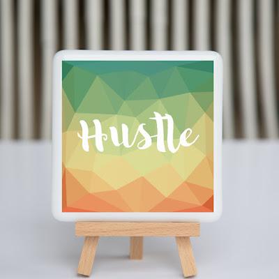 hustle, fused glass, coaster, desk art, creative entrepreneur, motivational quote, triangles,