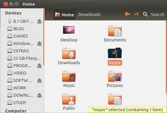 Google drive folder on Ubuntu