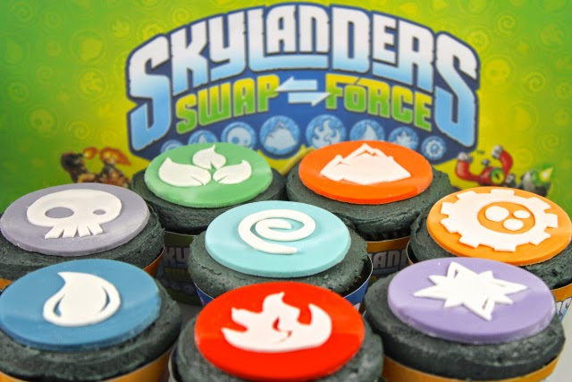 Skylanders party ideas; fondant cupcake toppers