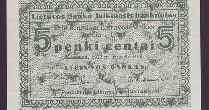 Lithuania 5 Centai Banknote Of 1922 World Banknotes