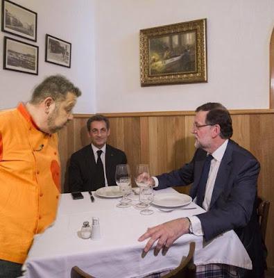 Memes Rajoy y Sarkozy en la tasca