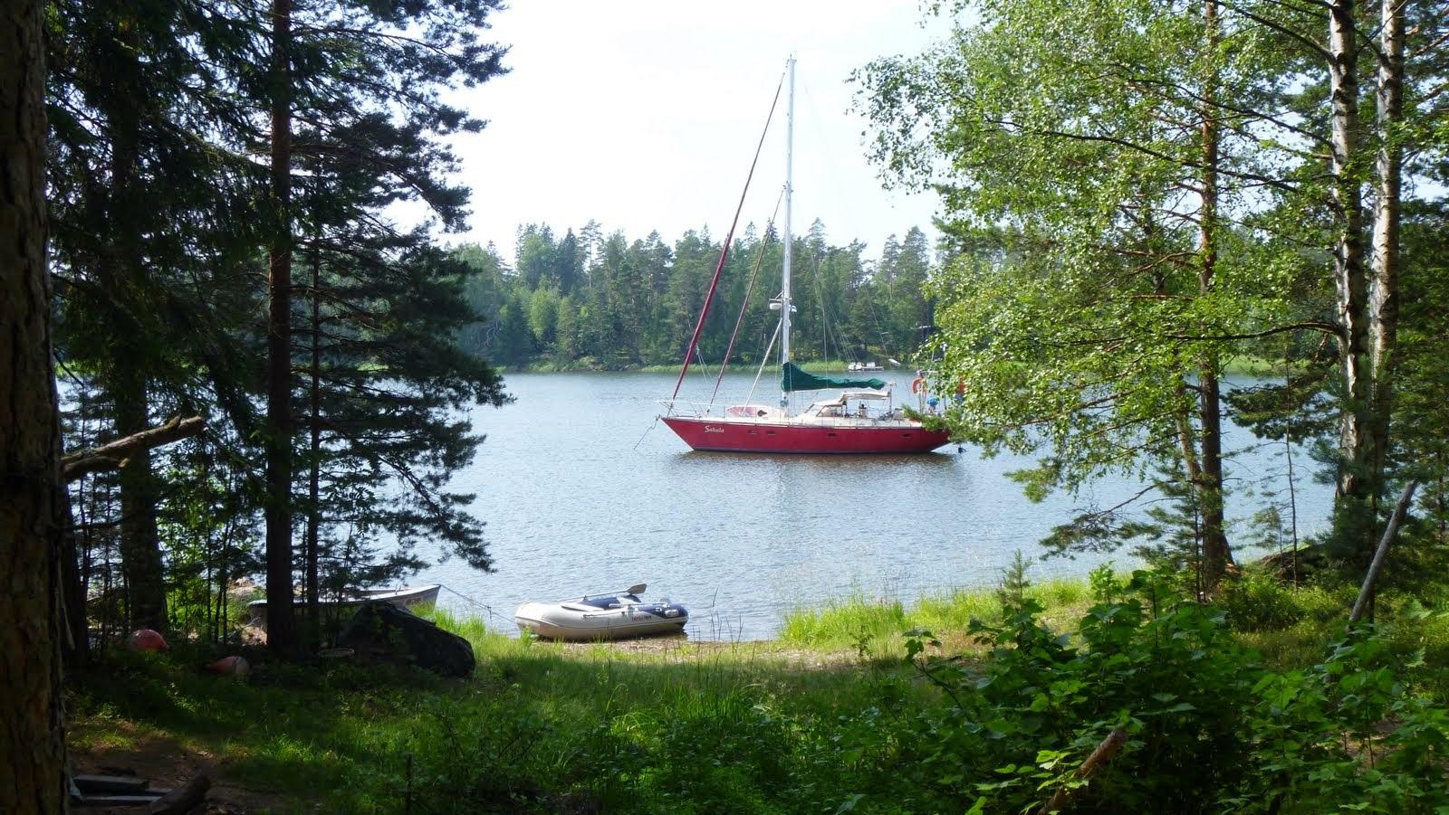 At anchor in Arparnis Cove Porgetti Island Skipper hears a row boat. #475E29