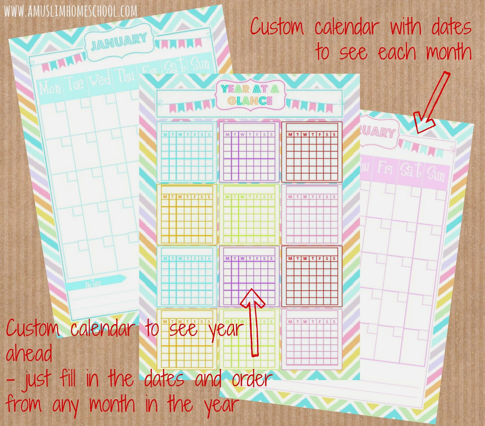free home management custom calandar printable
