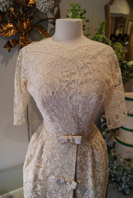 1950 39s Chantilly Lace TeaLength Wedding Dress by Harvey Berin