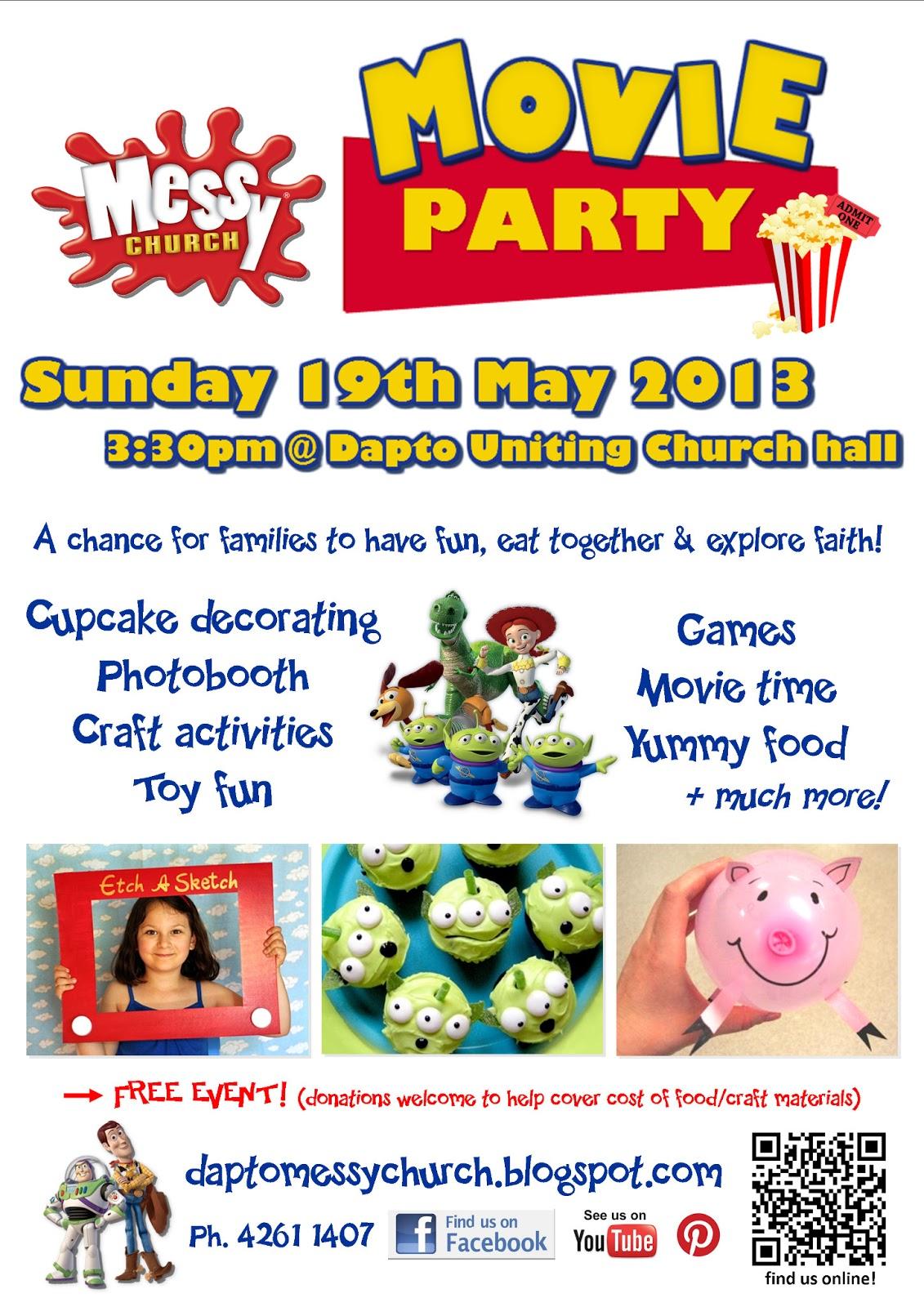 Messy Church @ Dapto Uniting: INVITE: Dapto Messy Church Movie Party