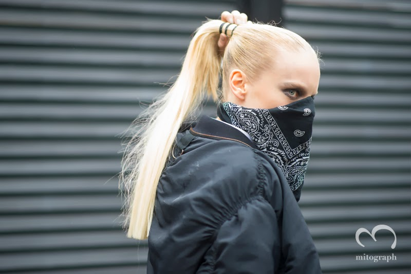 Model Hanne Gaby covers her face by Bandanna at New York Fashion Week