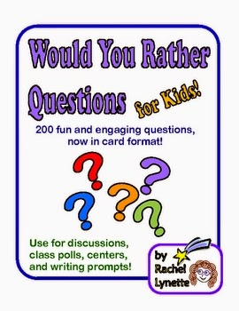 http://www.teacherspayteachers.com/Product/Would-You-Rather-Questions-for-Kids-200-Discussion-Starters-52805