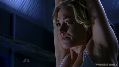 Yvonne Strahovski hanging around in a white tank top