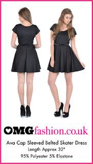 Ava Black Cap Sleeved Belted Skater Dress