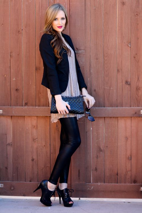 Arizona Fashion Blogger: Michael Stars Dress, Michael Kors Ankle Boots, Bar III Blazer, Forever 21 Earrings