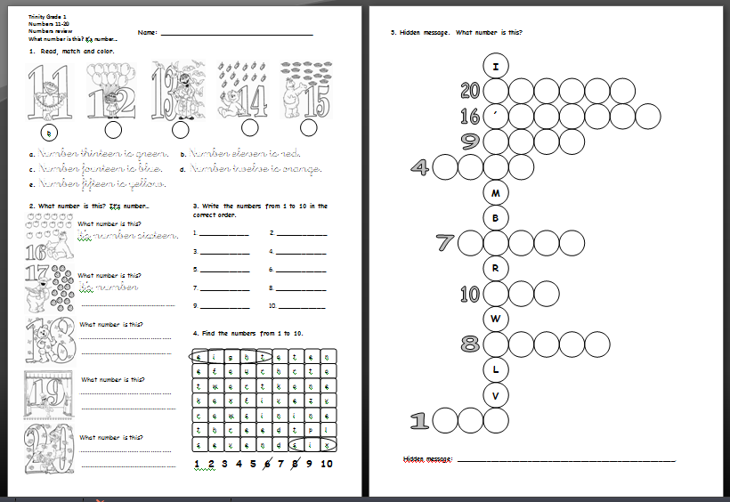 Number Names Worksheets : numbers in english 1 to 20 ~ Free ...