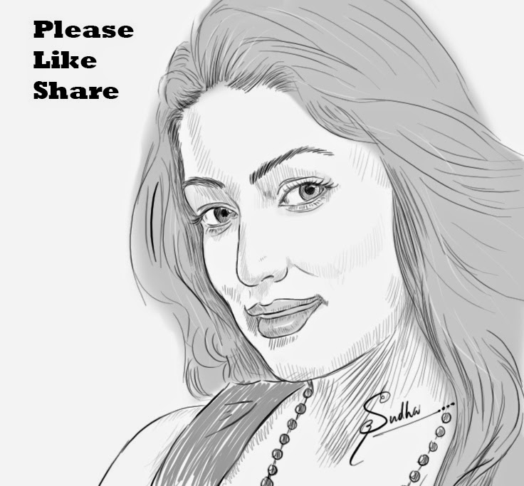 Natural actress yami gautam portrait drawing
