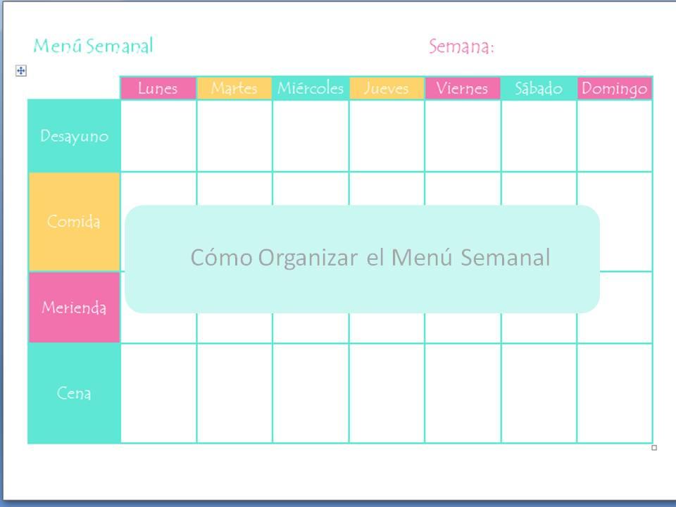 C mo organizar un men semanal sano y equilibrado for Dieta familiar y planificacion de menus diarios y semanales