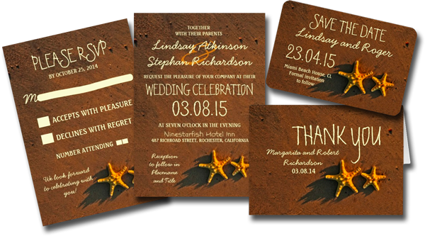 Beach Wedding Starfish Invitations