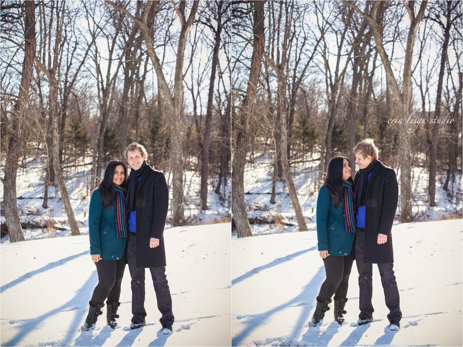 family photos in the snow at ironwoods park in leawood, ks