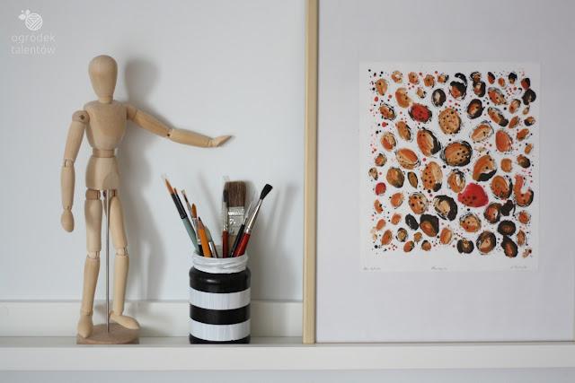 słoik w paski ręcznie malowany