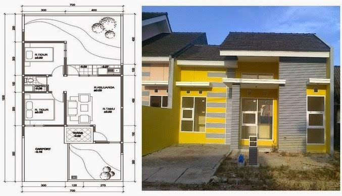 gambar denah rumah minimalis 1 lantai dengan 3 kamar tidur