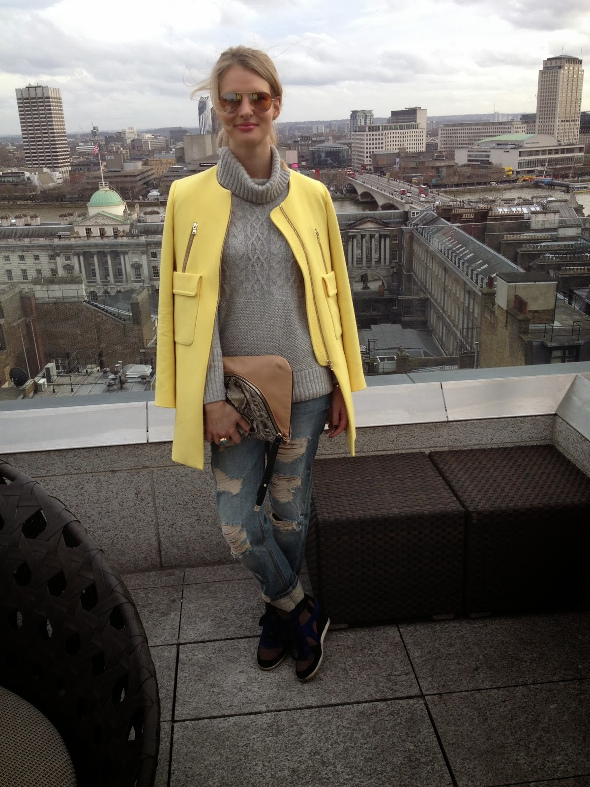 zara yellow coat, yellow coat, yellow coat with pockets, bright yellow coat, zara bright yellow coat, zara yellow coat ss 14, me hotel, me hotel london, lfw, asos, asos boyfriend jeans, asos ripped boyfriend jeans, ripped jeans, ripped boyfriend jeans, boyfriend jeans, ash trainers, ash wedge trainers, chrissabella