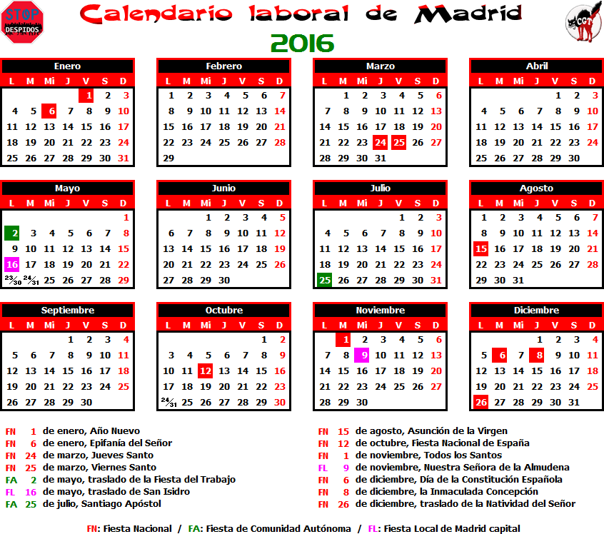 Gatos sindicales mad calendario laboral 2016 madrid for Calendario eventos madrid
