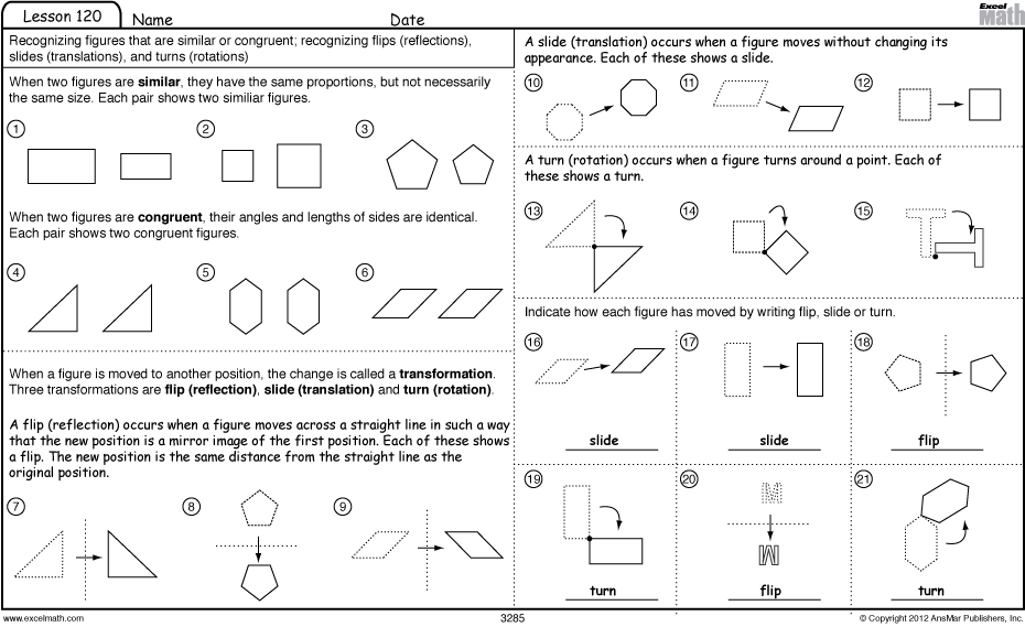 Worksheets Mathematics Grade 3 excel math slide flip and turn worksheet games grade 3 lesson 120 student answers