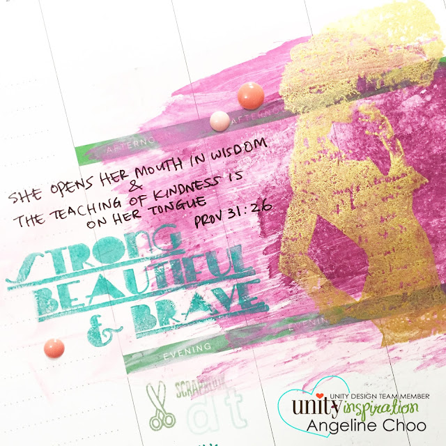 Unity Stamp Company blog: Inspiration Wednesday with Angeline #unitystampco #scrappyscrappy #smak #biblejournal #mambi #happyplanner #stamp