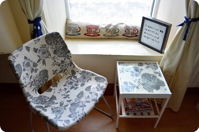 Nesna Ikea hack bedside table floral furniture window seat