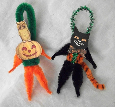 chenille stem Halloween figures, Halloween decor