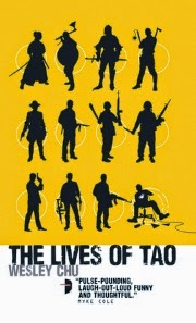 Cover art for The Lives of Tao, featuring twelve black silhouettes against a bright yellow background. Eleven of the silhouettes stand brandishing weapons from throughout history; mostly guns, with some swords and morning stars. The twelfth sits in a desk chair, holding a video game controller. All appear to be male.