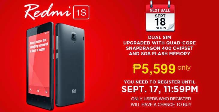 Lazada PH Pre-Registration for Xiaomi Redmi 1S Sale on September 18 Still Open