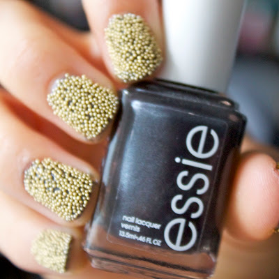 gold caviar ciate manicure nails diy silver dark base essie over the edge