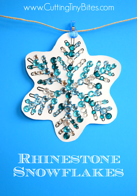 Winter snowflake craft for fine motor development in preschoolers or elementary children.  Rhinestone snowflakes in pretty winter colors are shiny and sparkly!