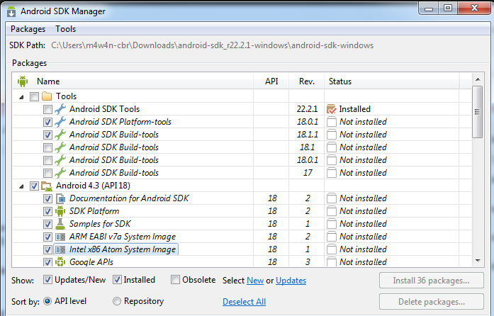 5)select the sdks you need from windows android sdk and avd manager