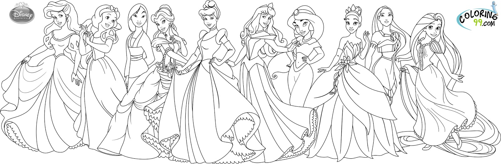 Disney Princess Coloring Pages Team Colors Disney Princesses Coloring Page