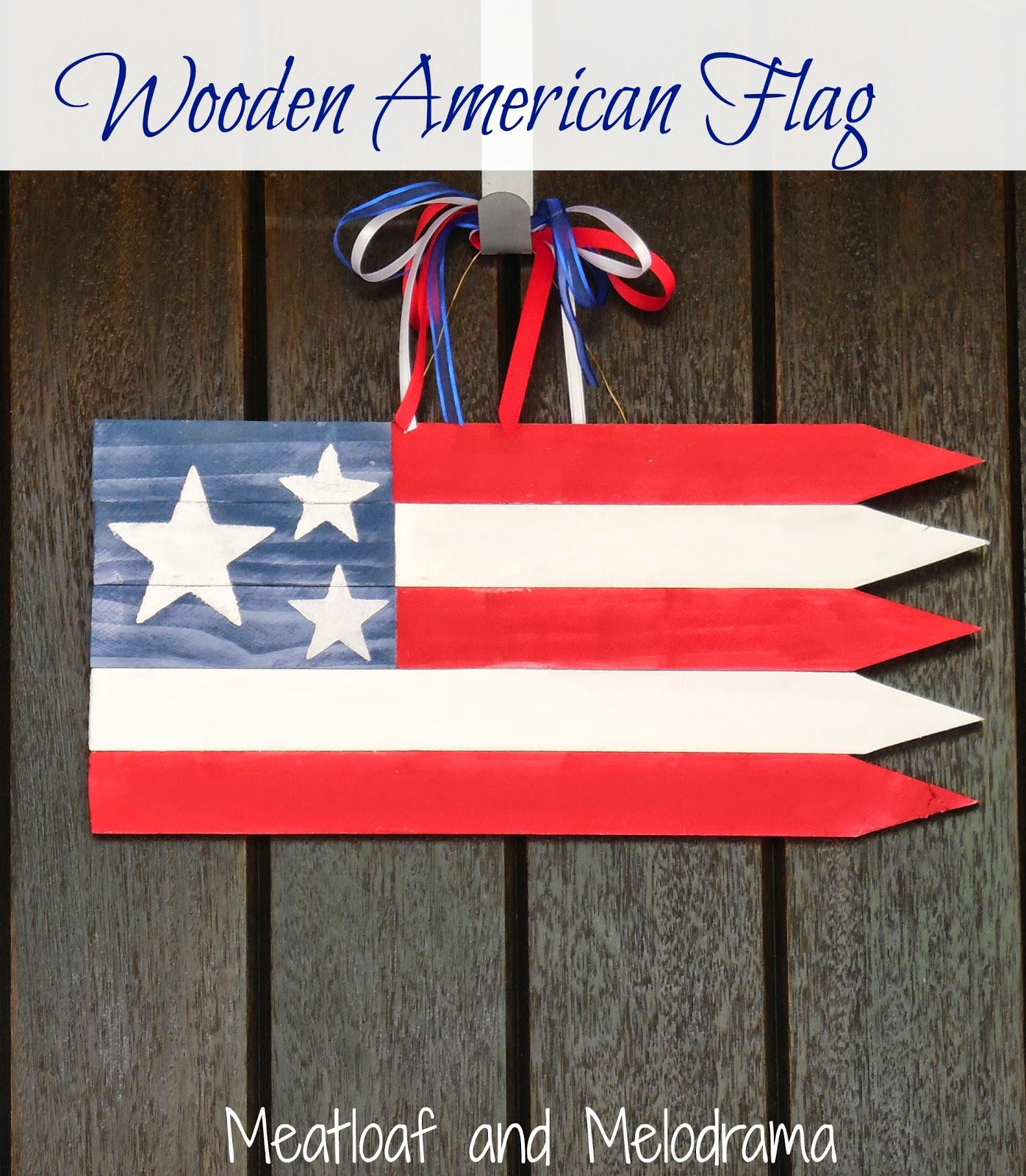 American flag made from wood fence posts