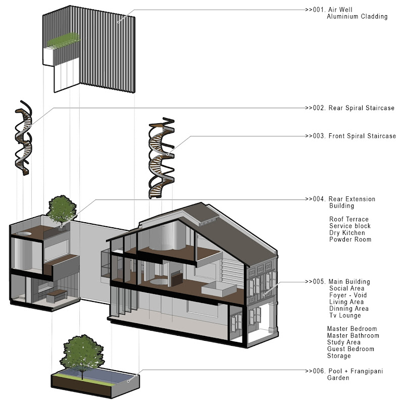 Illustration of the minimalist house on narrow plot, Singapore title=