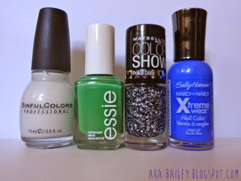 Snow Me White, Mojito Madness, Clearly Spotted, Pacific Blue, nail polish