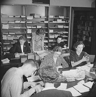 Library volunteers translate messages during World War II