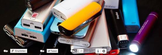 Powerbank, USB Akku und Batterie um Smartphones und iPad und Iphone unterwegs aufzuladen