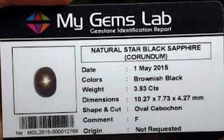 Batu Natuaral Black Sapphire + Memo (Star Tajam)