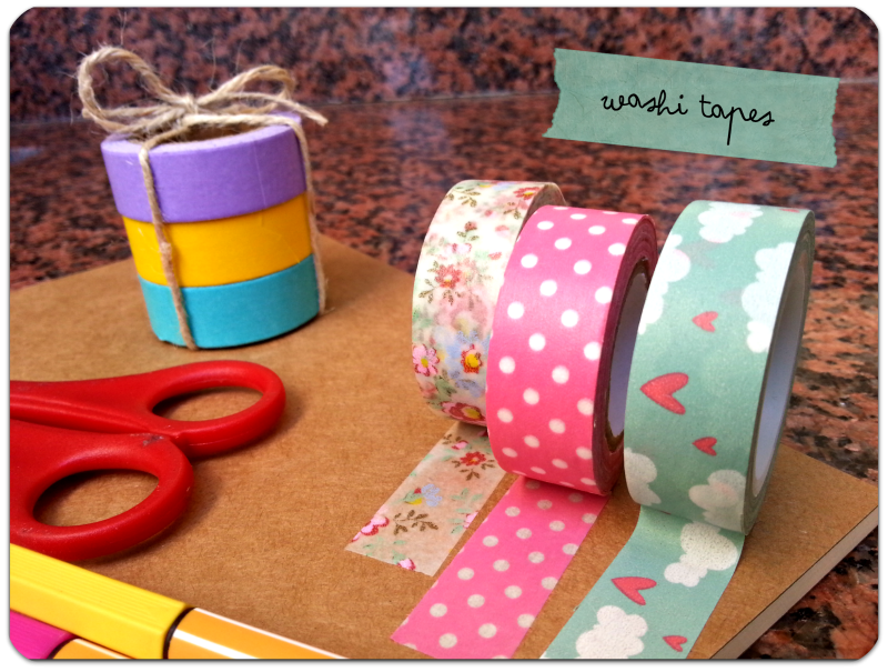 washi tapes polka dots, clouds, colours DIY notebook libreta decorada con washi tape