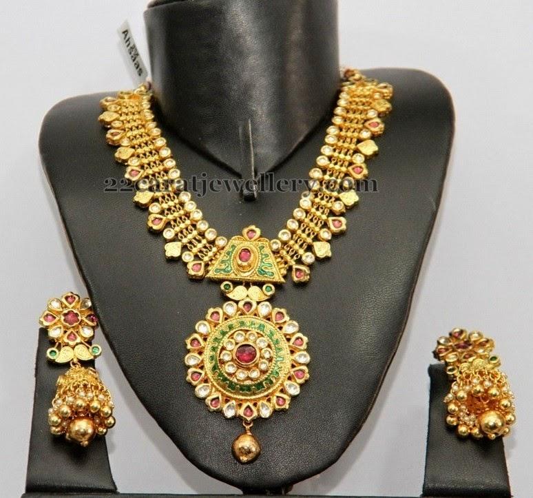 1 gram gold kundan set with jhumkas jewellery designs