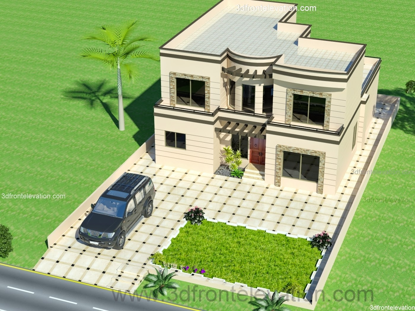 3d Front 1 Kanal House 50 39 X 90 39 Minimum