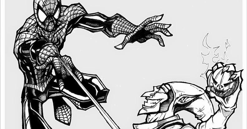 Coloriage spiderman et le bouffon vert coloriage en ligne - Coloriage spiderman en ligne ...