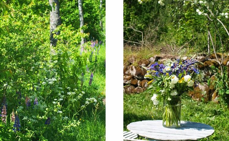 Buket skabt af blomster fra grøftekanten. en vild og naturlig buket som passer godt til at stå i haven. En skødesløs og charmerende buket til havebordet